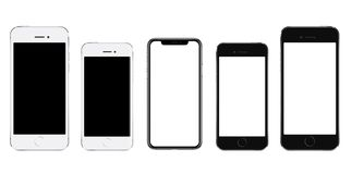 Gloednieuwe realistische mobiele telefoon zwarte smartphone in drie grootte stock fotografie