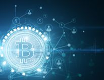 Gloeiend bitcoin behang Stock Afbeelding