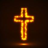 Gloeiend dwars, christelijk symbool Royalty-vrije Stock Fotografie
