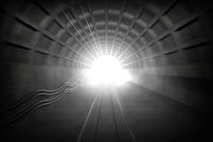Gloeiend eind van metrotunnel Stock Foto's