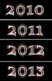 gloeiend het neonteken van 2010 tot van 2013 Stock Foto