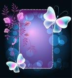 Gloeiend kader met vlinders en bloemen Royalty-vrije Stock Afbeelding