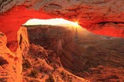 Gloeiend Mesa Arch bij zonsopgang, het Nationale Park van Canyonlands, Utah, U Stock Fotografie