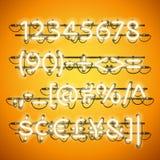 Gloeiend Neon Honey Yellow Numbers Royalty-vrije Stock Foto