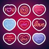 Gloeiend Neon Valentine Signs Sticker Pack met Slag Stock Afbeelding