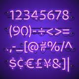 Gloeiend Neon Violet Numbers Stock Afbeelding
