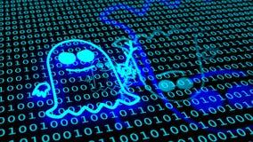Gloeiend spooksymbool op binaire blauwe vloer Royalty-vrije Stock Afbeeldingen