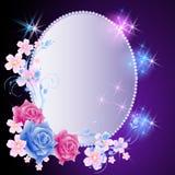 Gloeiende achtergrond met frame en bloemen Stock Foto's