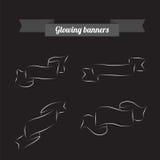 Gloeiende banners op zwarte Stock Afbeelding