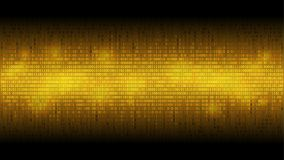 Gloeiende binaire code gouden abstracte achtergrond, gloeiende wolk van grote gegevens, stroom van informatie royalty-vrije illustratie
