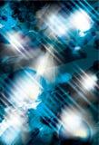 Gloeiende blauwe grungeachtergrond Stock Afbeelding