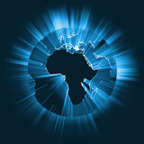 Gloeiende de lichtstraal globale gloed van Afrika Royalty-vrije Stock Afbeelding