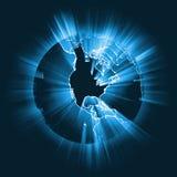 Gloeiende de lichtstraal globale gloed van Amerika Stock Afbeelding