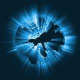 Gloeiende de lichtstraal globale gloed van Europa Royalty-vrije Stock Afbeelding
