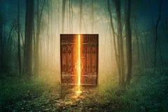 Gloeiende deur in bos Stock Afbeeldingen