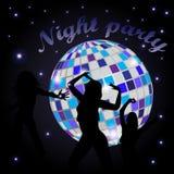Gloeiende discobal en dansende meisjes Royalty-vrije Stock Afbeelding