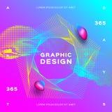 Gloeiende dynamische deeltjesvloeistof Kleurrijke geometrische achtergrond Samenstelling van gradiënt de vloeibare vormen Turkooi royalty-vrije illustratie