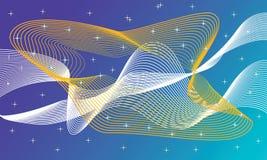 Gloeiende futuristische kleurrijke lijnen in de donkere ruimte stock illustratie