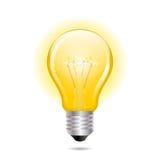 Gloeiende gele gloeilamp als inspiratieconcept Stock Afbeelding
