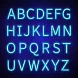 Gloeiende gezette neonlichten vectortekens, brieven, doopvont, alfabet vector illustratie
