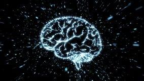Gloeiende hersenenillustratie in deeltjesexplosie met motieonduidelijk beeld stock video