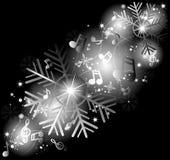 Gloeiende muzieknota's met de wintersneeuwvlokken royalty-vrije illustratie