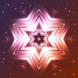 Gloeiende ster op donkere gradiëntachtergrond met fonkelingen Stock Fotografie