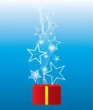 Gloeiende ster van giftbox vector illustratie