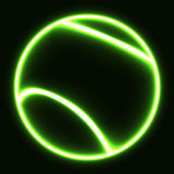 Gloeiende tennisbal Stock Foto