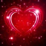 Gloeiende Valentijnskaart bachround Stock Afbeeldingen