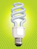 Gloeilamp CFL met groene achtergrond Stock Fotografie