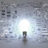 Gloeilamp 3d met bedrijfsstrategieachtergrond Stock Fotografie