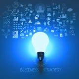 Gloeilamp 3d op bedrijfsstrategie Royalty-vrije Stock Afbeeldingen