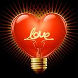Gloeilamp in de vorm van hart Stock Foto