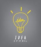 Gloeilamp en ideeconceptensymbool Stock Afbeeldingen