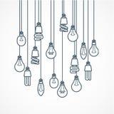 Gloeilamp het hangen op koorden - lampen Stock Foto