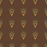 Gloeilamp, het Naadloze patroon van het ideesymbool Stock Afbeeldingen