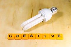 Gloeilamp met creatief ideeconcept Royalty-vrije Stock Foto's