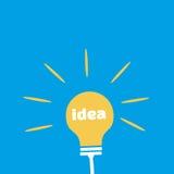 Gloeilamp met Ideeword Vlak pictogram Stock Afbeeldingen