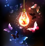 Gloeilamp met nachtvlinders stock illustratie