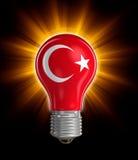 Gloeilamp met Turkse vlag (het knippen inbegrepen weg) Stock Fotografie