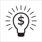 Gloeilamp met van het bedrijfs dollarsymbool concept royalty-vrije illustratie