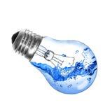 Gloeilamp met water dat op wit wordt geïsoleerdr Royalty-vrije Stock Foto