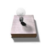 Gloeilamp op gesloten oud boek, 3D illustratie Stock Foto's