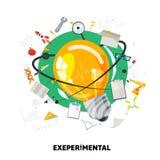 Gloeilamp van experiment met kenniselementen wetenschap en Di vector illustratie