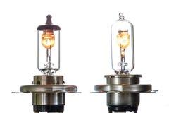 Gloeilamp voor ondergedompelde en hoofdstraalkoplampen met het branden van spiraal op een witte achtergrond stock afbeelding