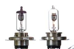 Gloeilamp voor ondergedompelde en hoofdstraalkoplampen met het branden van spiraal op een witte achtergrond stock foto's
