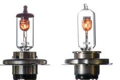 Gloeilamp voor ondergedompelde en hoofdstraalkoplampen met het branden van spiraal op een witte achtergrond stock fotografie