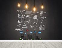 Gloeilampen en bedrijfsgrafiek op muur voor inspiratie of idee Royalty-vrije Stock Fotografie