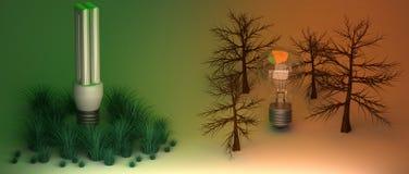 Gloeilampen en milieu stock illustratie